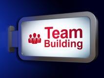 Concepto del negocio: Team Building y hombres de negocios en fondo de la cartelera libre illustration