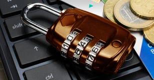 Concepto del negocio y de las finanzas: asegure hacer compras en línea Fotografía de archivo libre de regalías