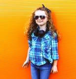 Concepto del niño de la moda - niño elegante de la niña Imagenes de archivo