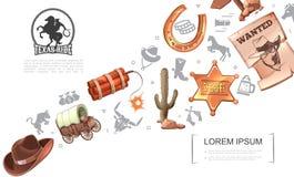 Concepto del oeste salvaje de la historieta stock de ilustración