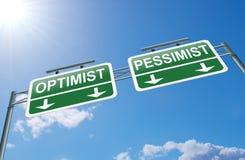 Concepto del optimista o del pesimista. Imagenes de archivo