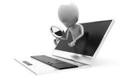 concepto del ordenador portátil de la búsqueda del hombre 3d Fotografía de archivo