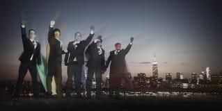 Concepto del orgullo de la inspiración de los hombres de negocios del super héroe Foto de archivo libre de regalías