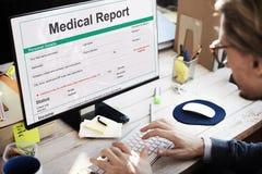 Concepto del paciente de la historia de la forma del expediente de informe médico Fotografía de archivo libre de regalías