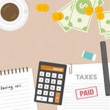 Concepto del pago de impuestos y de la gestión de dinero, diseño plano Foto de archivo libre de regalías