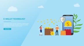 concepto del pago de la tecnología de la E-cartera para la plantilla del diseño de la página web que aterriza homepage o la bande stock de ilustración