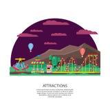 Concepto del parque de atracciones o del Funfair ilustración del vector