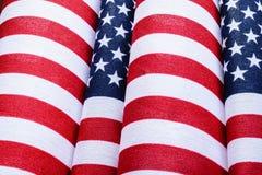 Concepto del patriotismo - primer de dos banderas Foto de archivo libre de regalías