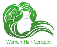 Concepto del pelo de la mariposa de la mujer Foto de archivo libre de regalías