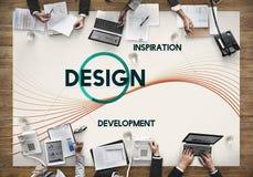 Concepto del pensamiento creativo del diseño del desarrollo de la inspiración fotos de archivo