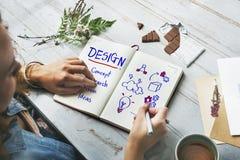 Concepto del pensamiento creativo del diseño del desarrollo de la inspiración foto de archivo libre de regalías