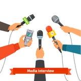 Concepto del periodismo Micrófonos y grabadora de voz ilustración del vector