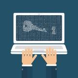 Concepto del pirata informático de la contraseña ilustración del vector