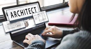 Concepto del plan de Architecture Housing Floor del arquitecto Imagen de archivo