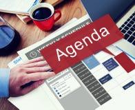 Concepto del plan de la lista de la información de las metas de Apppointment del orden del día Fotografía de archivo libre de regalías
