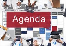 Concepto del plan de la lista de la información de las metas de Apppointment del orden del día Fotos de archivo libres de regalías