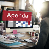 Concepto del plan de la lista de la información de las metas de la cita del orden del día Imagenes de archivo
