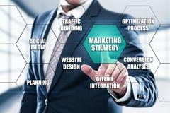 Concepto del plan de la publicidad de negocio de la estrategia de marketing fotografía de archivo