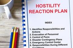Concepto del plan de la reacción de la hostilidad Foto de archivo