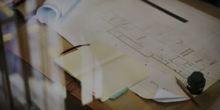 Concepto del planeamiento del funcionamiento de proyecto del modelo de la construcción Imágenes de archivo libres de regalías