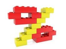 Concepto del por ciento construido de ladrillos del juguete en amarillo y rojo en blanco ilustración del vector