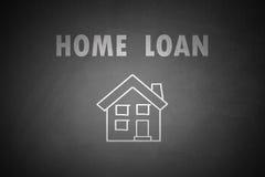 Concepto del préstamo hipotecario dibujado en la pizarra Imágenes de archivo libres de regalías