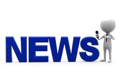 concepto del presentador de las noticias del hombre 3d Imagen de archivo libre de regalías