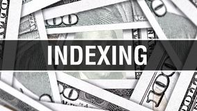 Concepto del primer de la indexación de direcciones Dólares americanos de dinero del efectivo, representación 3D Indexación de di stock de ilustración