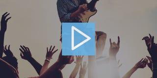 Concepto del principio del entretenimiento de las multimedias del botón de reproducción Fotografía de archivo libre de regalías