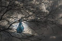 Concepto del problema de la contaminación del ambiente ejecución de la bolsa de plástico en una rama foto de archivo