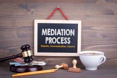 Concepto del proceso de mediación Cierre de la comunicación del conflicto Pizarra en un fondo de madera imagen de archivo libre de regalías
