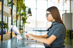 Concepto del proceso del trabajo del estudiante Proyecto de trabajo de la universidad de la mujer con el ordenador portátil genér fotografía de archivo libre de regalías