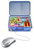 Concepto del ratón de la maleta de las vacaciones del día de fiesta Imágenes de archivo libres de regalías