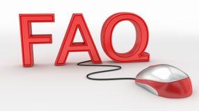 Concepto del ratón del FAQ y del ordenador Foto de archivo
