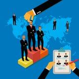 Concepto del reclutamiento, mano que toma al mejor candidato al trabajo, vector, ejemplo Imagen de archivo