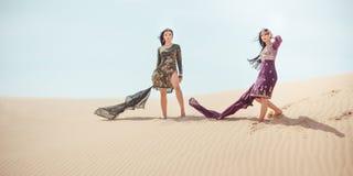 concepto del recorrido Dos hermanas gordeous de las mujeres que viajan en desierto Estrellas de cine indias árabes Imagen de archivo