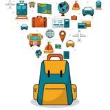concepto del recorrido elementos de las vacaciones del viaje de mochila libre illustration