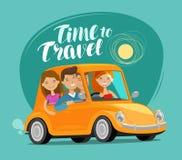 concepto del recorrido Los amigos felices montan el coche retro en viaje Ejemplo divertido del vector de la historieta