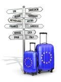 concepto del recorrido Maletas y poste indicador qué a visitar en europeo Foto de archivo