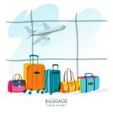 Concepto del recorrido y del turismo Equipaje multicolor, maleta, bolso en la ventana del aeropuerto Ejemplo del garabato del vec libre illustration