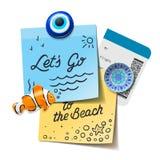 Concepto del recorrido y del turismo Lets va al texto de la playa en las notas de post-it, imanes del viaje, documento de embarqu Imagen de archivo libre de regalías