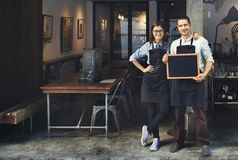 Concepto del restaurante de Barista Coffee Shop Service de los pares imágenes de archivo libres de regalías