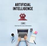 Concepto del robot de la máquina de la automatización de la inteligencia artificial Fotos de archivo