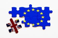 Concepto del rompecabezas de Brexit en el fondo blanco foto de archivo libre de regalías