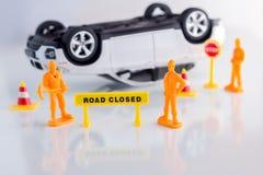 Concepto del seguro de coche del accidente de tráfico del juguete jpg Fotos de archivo libres de regalías