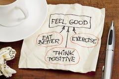 Concepto del sentir bien - doodle de la servilleta Fotos de archivo libres de regalías