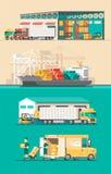 Concepto del servicio de entrega Cargamento del buque de carga del envase, cargador del camión, almacén Foto de archivo