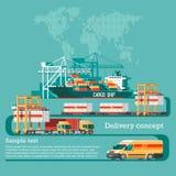 Concepto del servicio de entrega Cargamento del buque de carga del envase, cargador del camión, almacén, avión, tren Foto de archivo