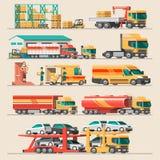 Concepto del servicio de entrega Cargamento del buque de carga del envase, cargador del camión, almacén, avión, tren Imagen de archivo