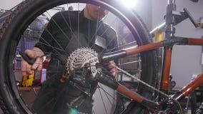 Concepto del servicio de la bicicleta Un hombre joven repara y mantiene una bicicleta metrajes